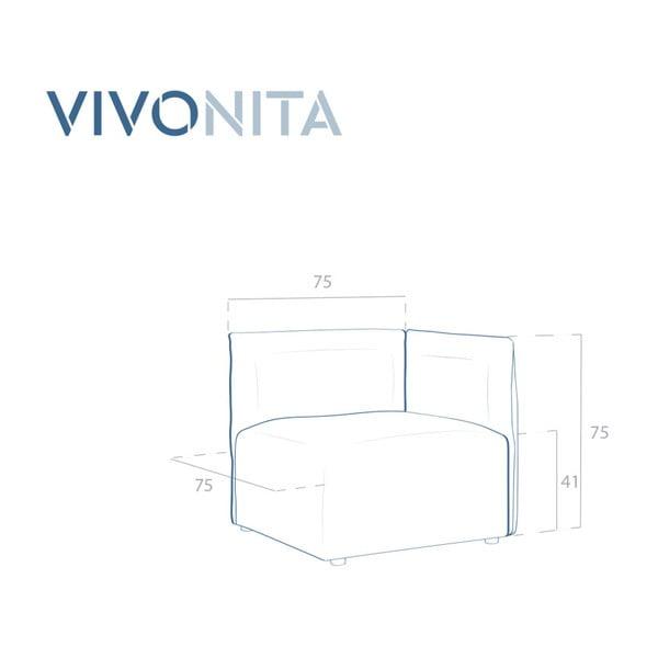 Béžový pravý rohový modul pohovky Vivonita Cube