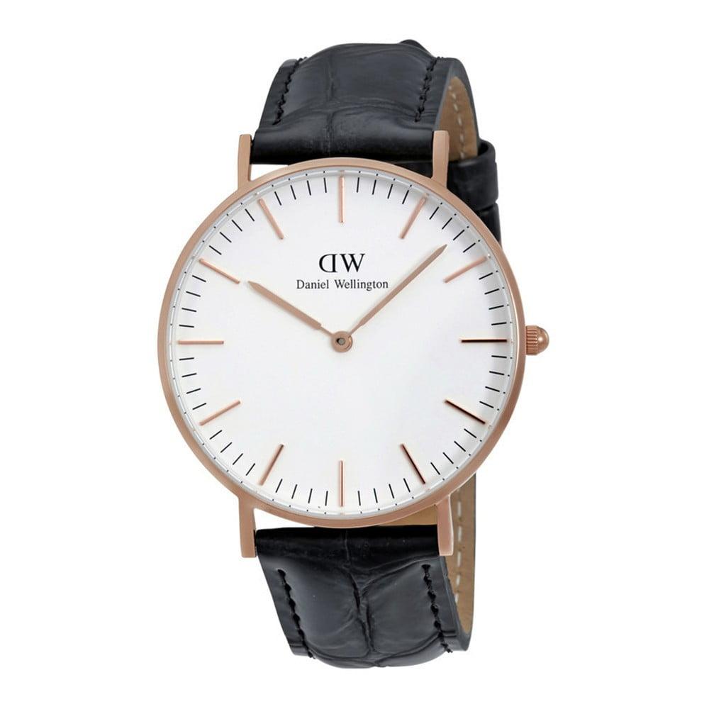 Pánské hodinky s koženým řemínkem a ciferníkem růžovozlaté barvy Daniel Wellington Reading, ⌀ 40 mm