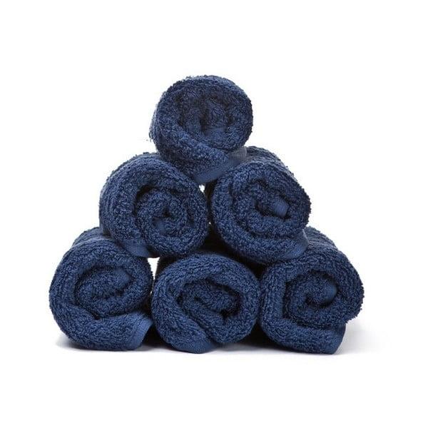Sada 6 modrých ručníků z čisté bavlny Casa Di Bassi