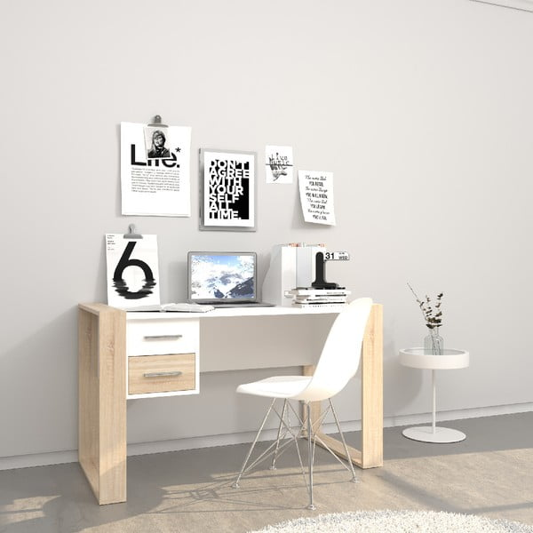 Bílý pracovní stůl se světle hnědými detaily Farley, šířka 124 cm