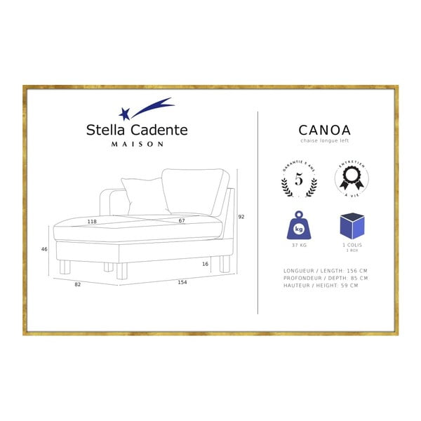 Antracitově šedá lenoška Stella Cadente Maison Maison Canoa, levá strana