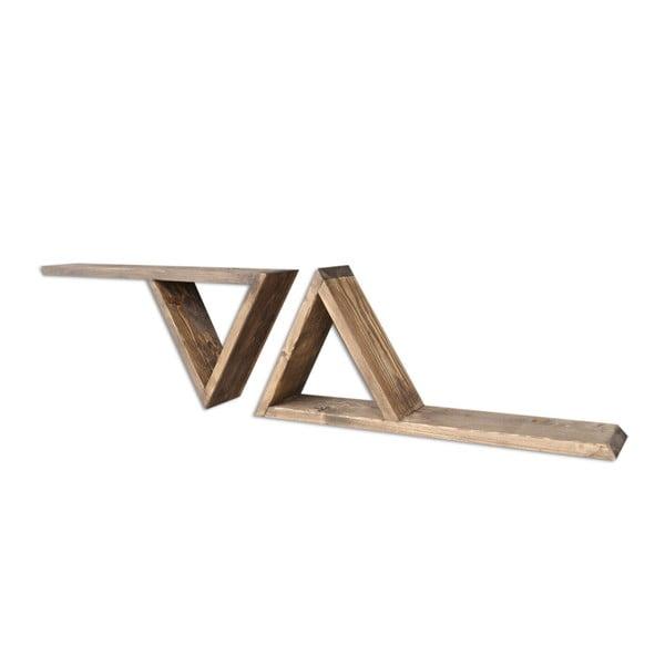 Sada 2 dřevěných nástěnných polic Triangles
