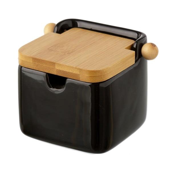 Černá kameninová dóza na sůl s bambusovým víkem Unimasa, 250 ml