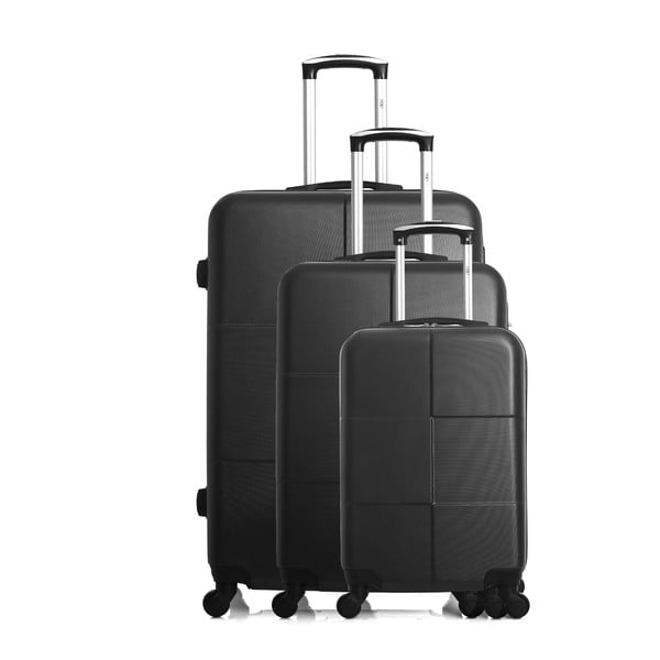 Sada 3 černých cestovních kufrů na kolečkách Hero Coronado