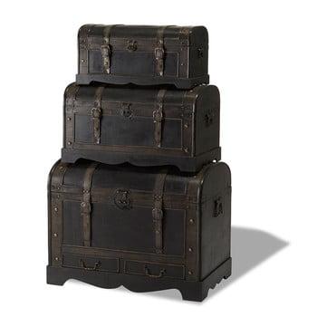 Set 3 cutii din lemn decorative Furnhouse Trunks Shadow de la Furnhouse