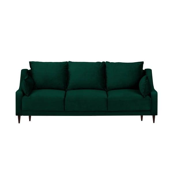 Tmavě zelená sametová rozkládací pohovka s úložným prostorem Mazzini Sofas Freesia, 215 cm