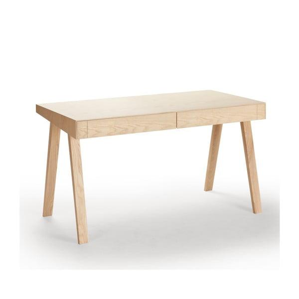 4.9 európai kőrisfa íróasztal, 2 fiókos - EMKO