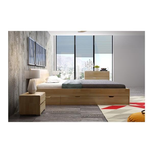 Pat dublu din lemn de fag, cu sertar, SKANDICA Vestre Maxi, 200 x 200 cm
