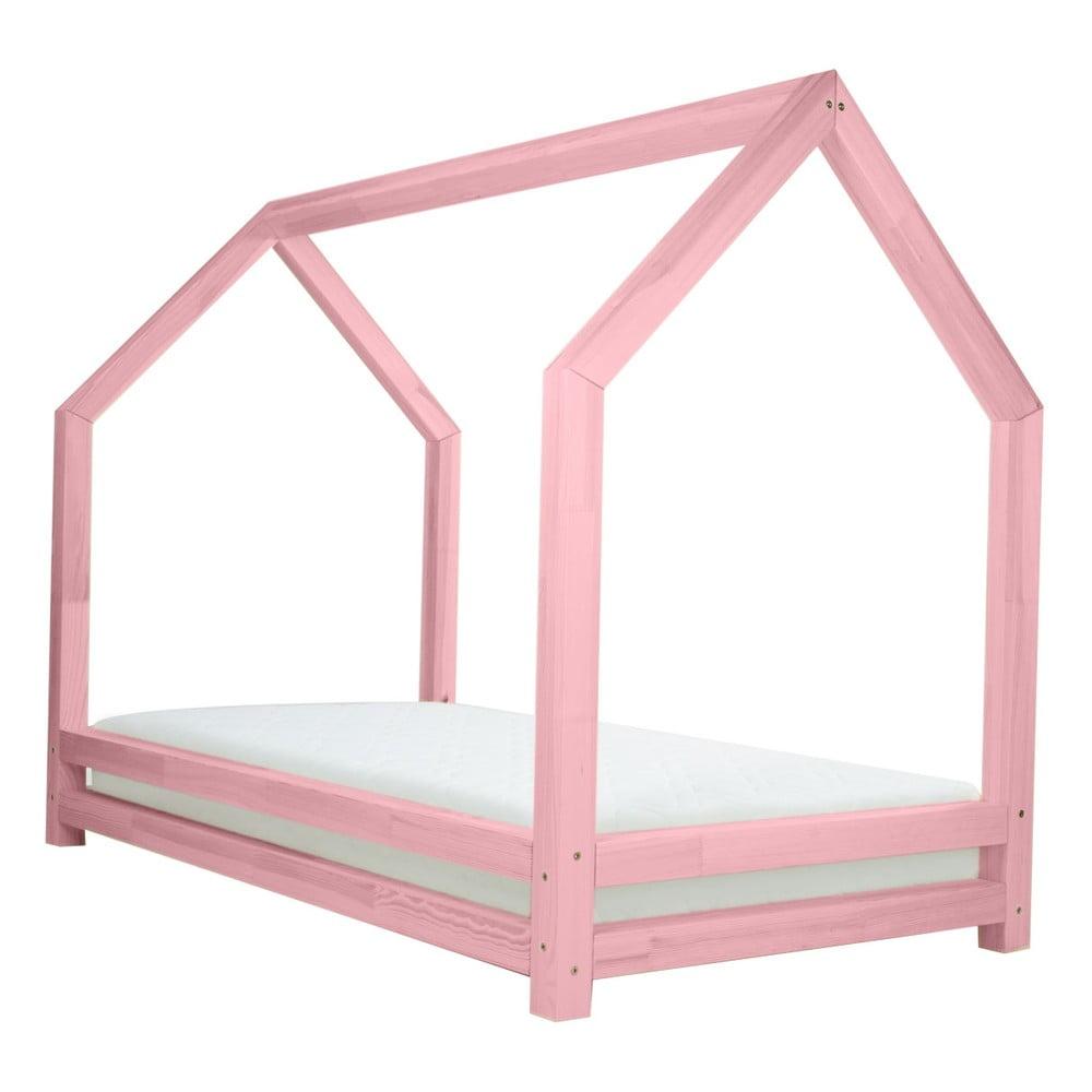 Růžová jednolůžková postel z borovicového dřeva Benlemi Funny, 80 x 200 cm