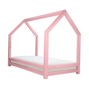 Růžová jednolůžková postel z borovicového dřeva Benlemi Funny, 80x160cm