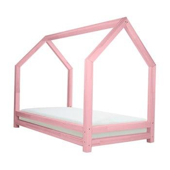 Pat din lemn lăcuit de molid pentru copii Benlemi Funny, 80 x 160 cm, roz