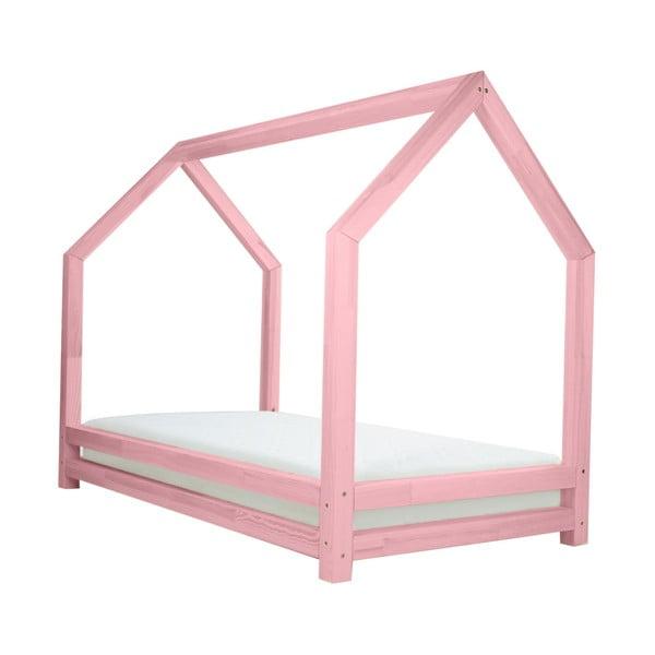Różowe łóżko dziecięce z lakierowanego drewna świerkowego Benlemi Funny, 80x160 cm