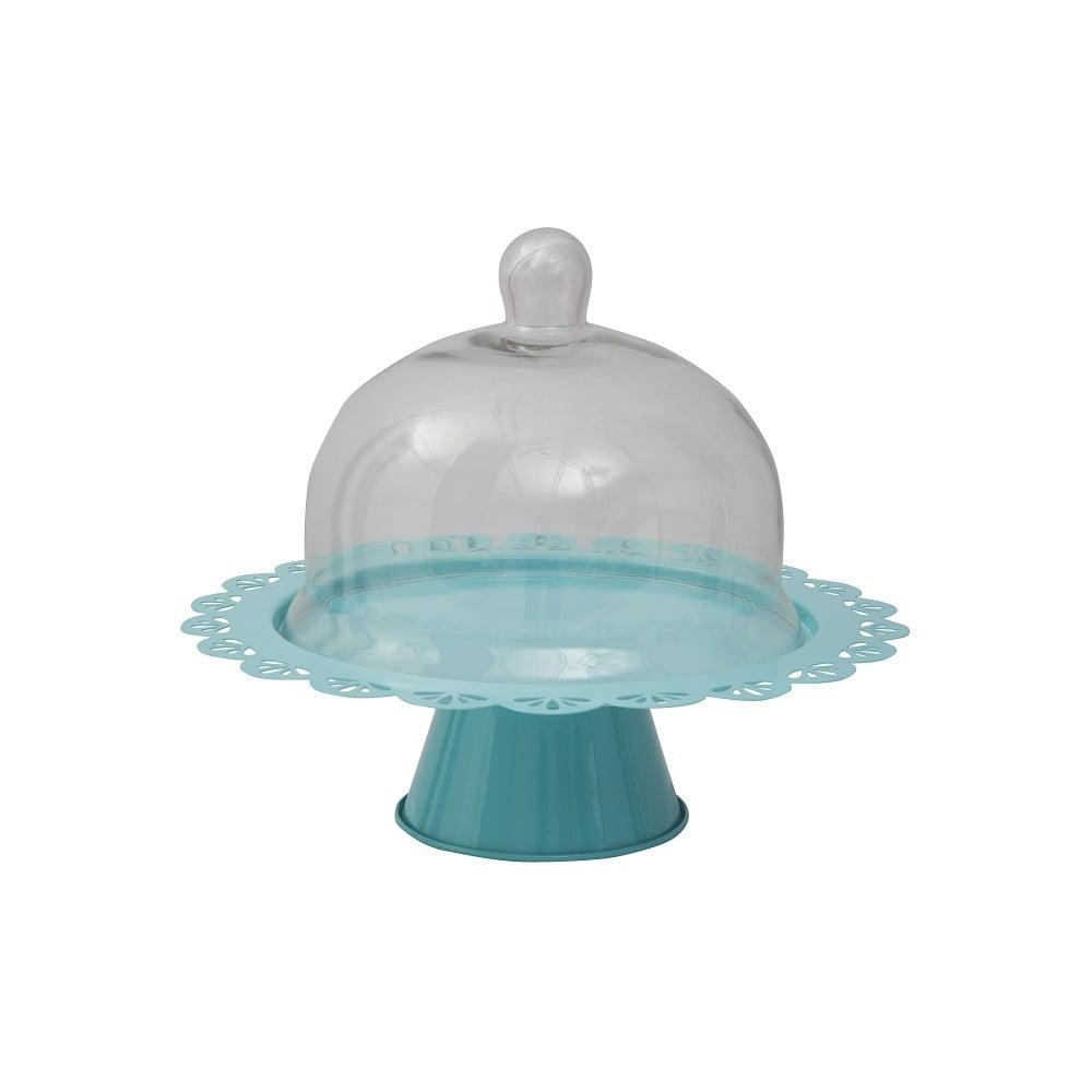 Modrý servírovací stojan na dort se skleněným poklopem Mauro Ferretti, Ø 28 cm