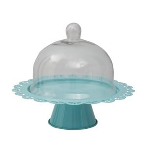 Suport servire tort cu capac sticlă Mauro Ferretti, albastru, Ø 28 cm