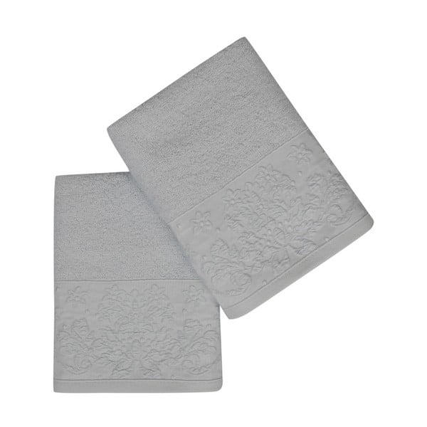 Sada 2 zelenošedých ručníků z čisté bavlny Simple, 50 x 90 cm