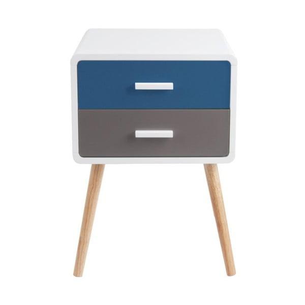 Modro-sivý stolík s 2 zásuvkami Leitmotiv Neat