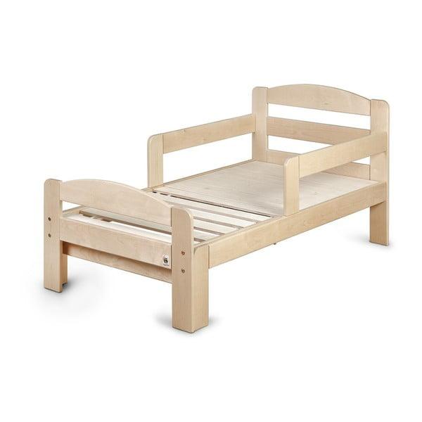 Pat reglabil din lemn pentru copii YappyKids Grow, 70 x 140-190 cm, natural