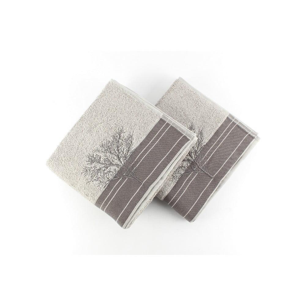 Sada 2 šedých bavlněných ručníků Infinity,50x90cm