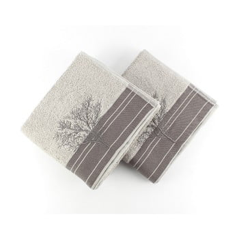 Set 2 prosoape din bumbac Infinity Grey, 50 x 90 cm, gri imagine