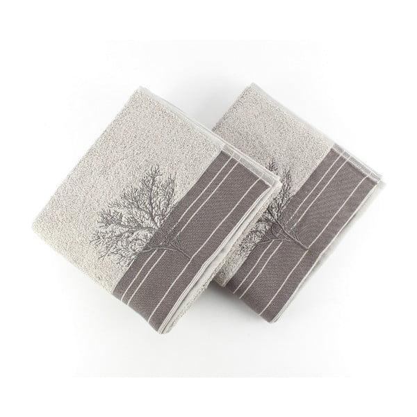 Sada 2 sivých bavlnených uterákov Infinity, 50 × 90 cm