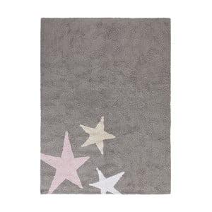 Šedý bavlněný ručně vyráběný koberec s růžovou hvězdou Lorena Canals Three Stars, 120x160cm