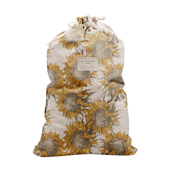 Látkový vak na bielizeň s prímesou bavlny Linen Bag Sunflower, výška 75 cm