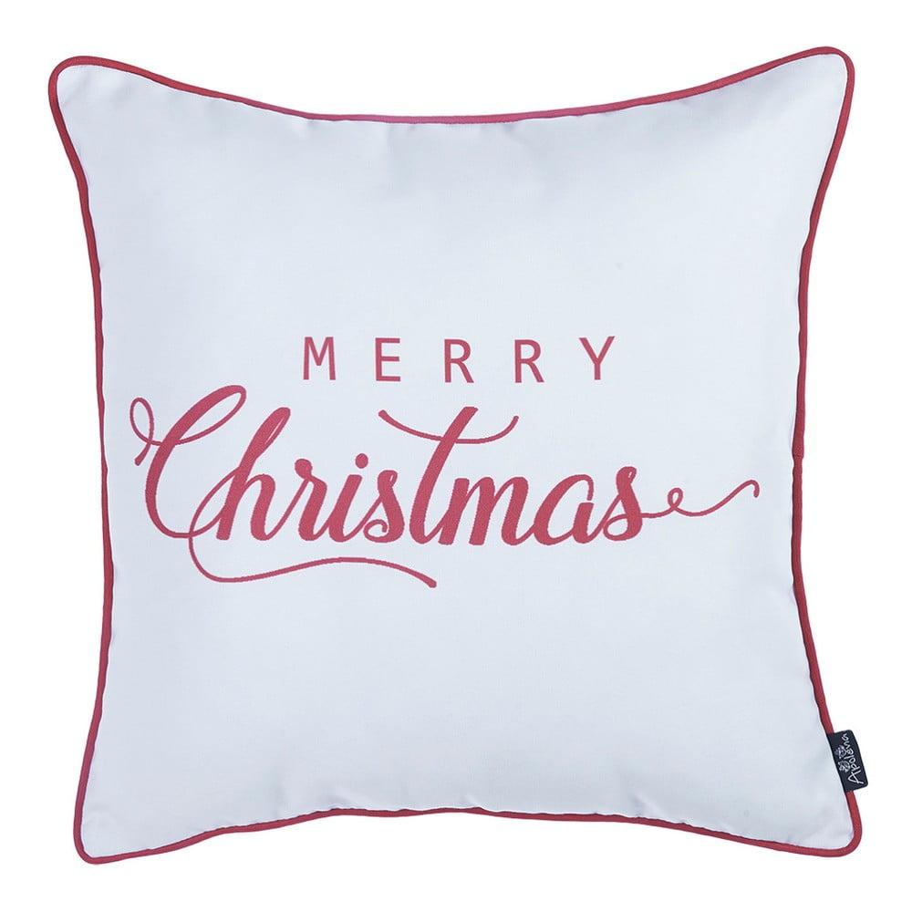 Bílo-červený vánoční povlak na polštář Apolena Honey Merry Christmas, 45 x 45 cm