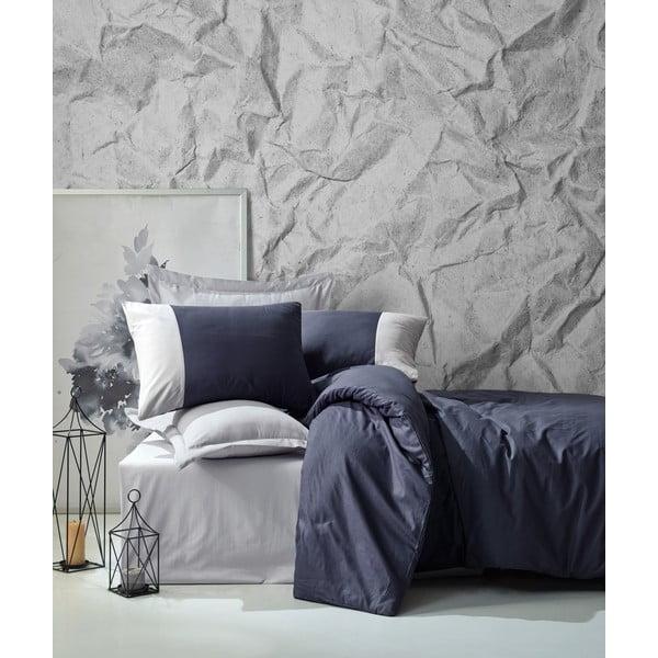 Lenjerie de pat din bumbac cu cearșaf Cotton Box Plain, 200 x 220 cm, albastru închis