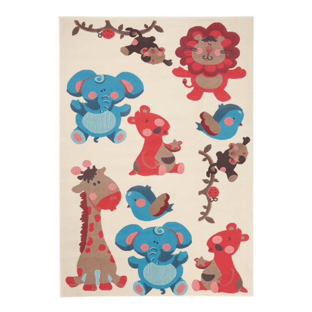 Dětský červenohnědý koberec Zala Living Animals, 140 x 200 cm