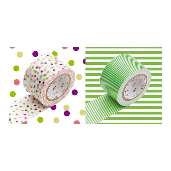 Sada 2 washi pásek Pois Rayures Green