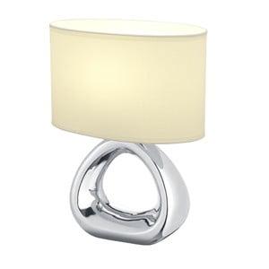 Stolní lampa ve stříbrné barvě z keramiky a tkaniny Trio Gizeh, výška 34,5 cm