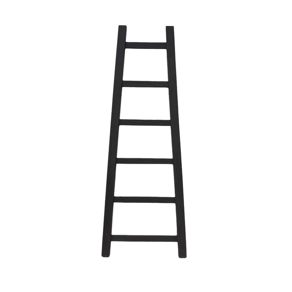 Černý dekorativní žebřík z teakového dřeva, výška 150 cm
