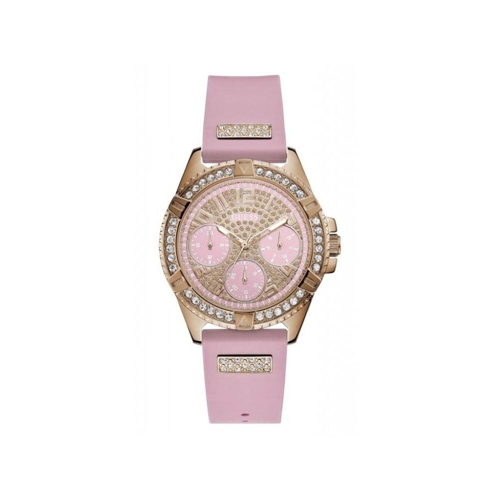 73639b161 Dámské hodinky s růžovým silikonovým páskem Guess W1160L5