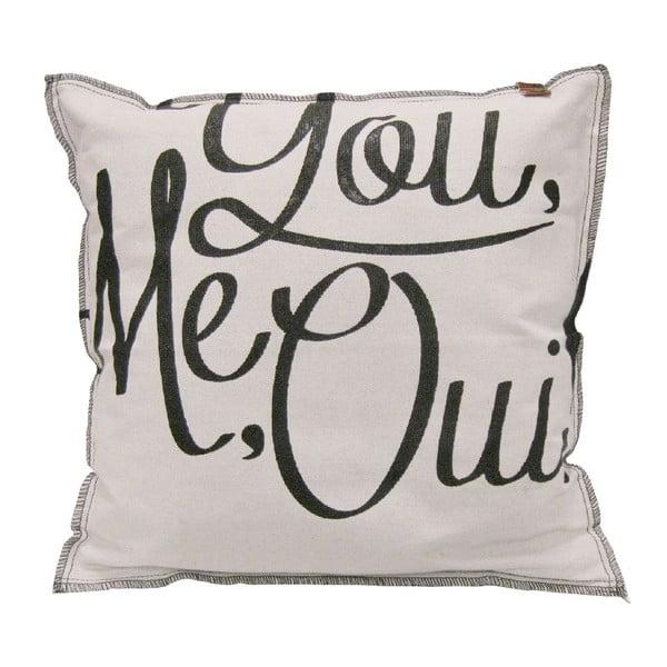 Krémový polštář OVERSEAS You Me Oui,45x45cm