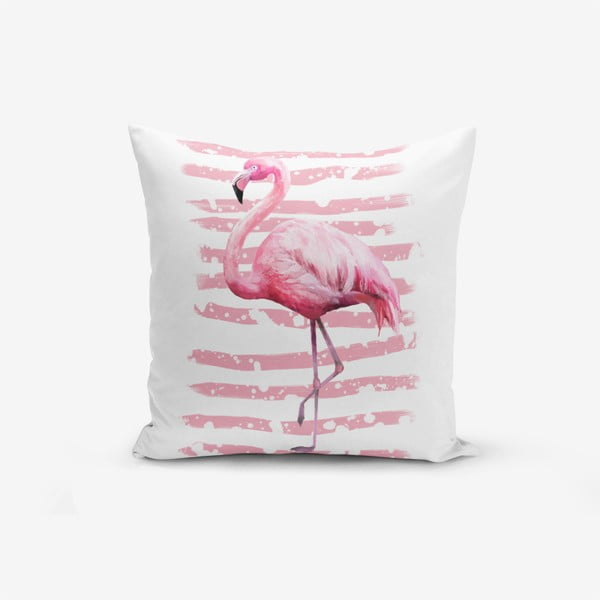 Față de pernă Minimalist Linears Flamingo, 45 x 45 cm