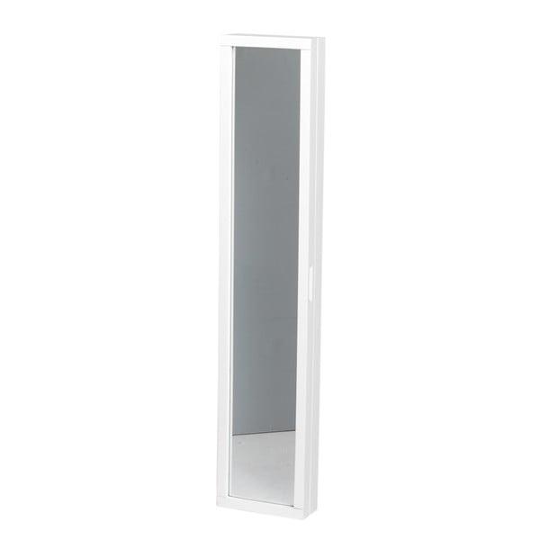Bílá dubová skříňka na klíče se zrcadlem Folke Sol
