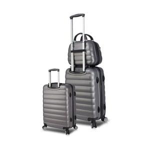 Sada 2 šedých cestovních kufrů na kolečkách s USB porty a příručního kufříku My Valice RESSO Cab Med & MU
