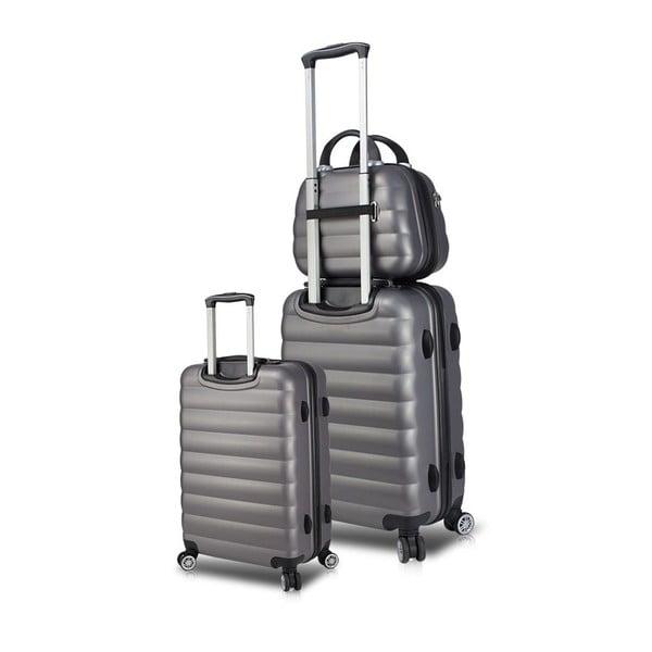 Zestaw 2 szarych walizek na kółkach z USB i kuferka podróżnego My Valice RESSO Cab Med & MU