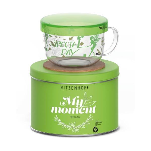 Cană pentru ceai cu suport pahar și capac Ritzenhoff Kurz Shinpei, 450 ml, verde