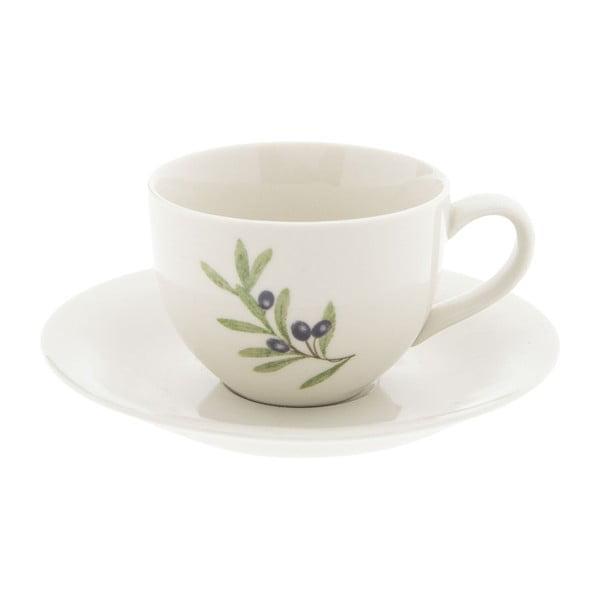 Biała filiżanka ceramiczna ze spodkiem Clayre & Eef Olive, 200 ml