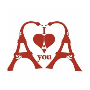Samolepka na zeď Eiffel Tower Love, 20x30 cm