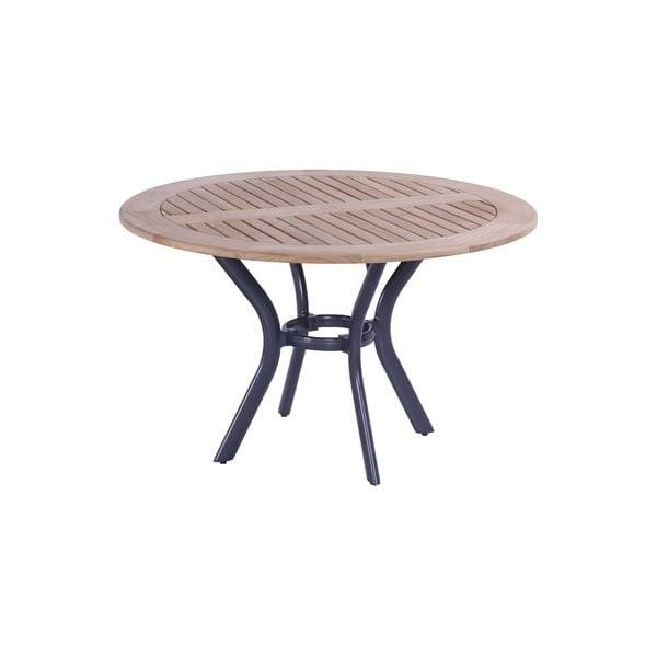 Masă dining de grădină din lemn de tec și bază metalică Hartman South Wales, ø 120 cm