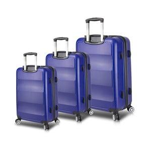 Sada 3 modrých cestovních kufrů na kolečkách s USB porty My Valice LASSO Travel Set