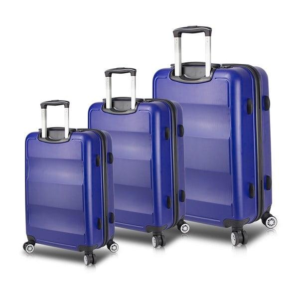 LASSO Travel Set 3 kék görgős bőrönd USB csatlakozóval - My Valice