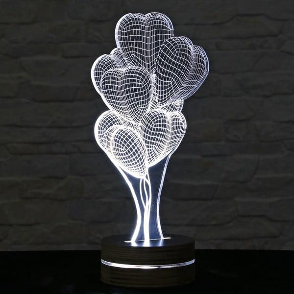 3D stolní lampa Heart Ballons