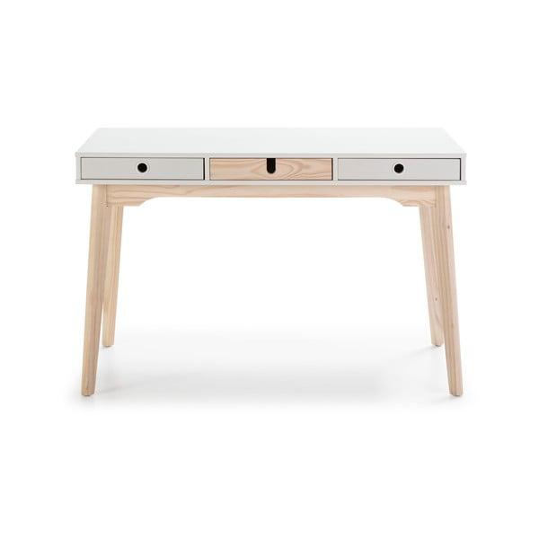 Bílý psací stůl s nohami z borovicového dřeva Marckeric Kiara
