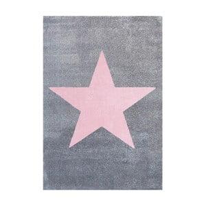 Šedorůžový dětský koberec Happy Rugs Superstar, 80x150cm
