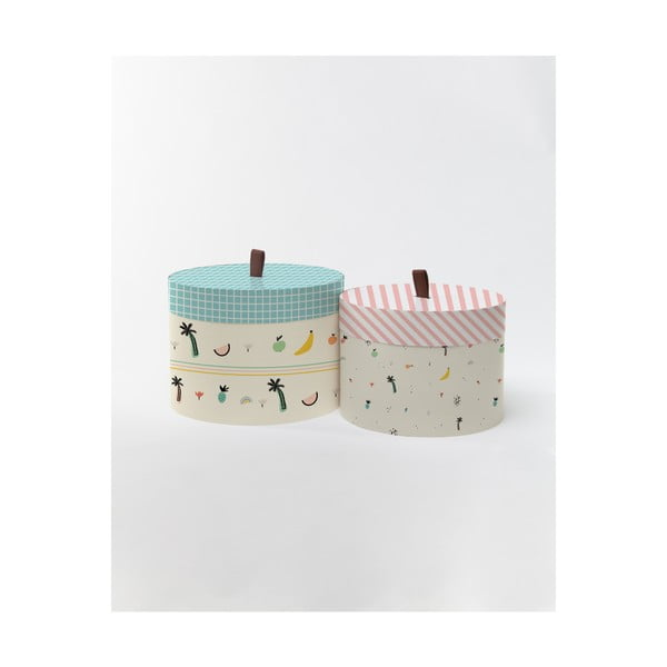 Sada 2 dekorativních kulatých krabic Little Nice Things Tropiko