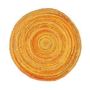 Žlutý bavlněný kruhový koberec Eco Rugs, Ø150cm