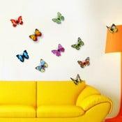 Trojrozměrné samolepky motýlků WALPLUS 3D Colorful Butterflies